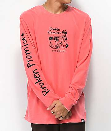 Broken Promises Post Internet Coral Long Sleeve T-Shirt