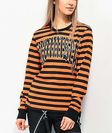 Broken Promises Ruthless Black & Orange Stripe Knit Long Sleeve T-Shirt