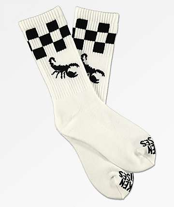Broken Promises Scorpion Check 2 Tone White Crew Socks