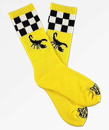 Broken Promises Scorpion Check 2 Tone Yellow Crew Socks