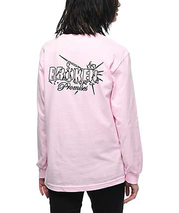 Broken Promises Shatter Light Pink Long Sleeve T-Shirt