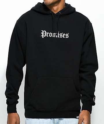 Broken Promises Slogan Black Hoodie