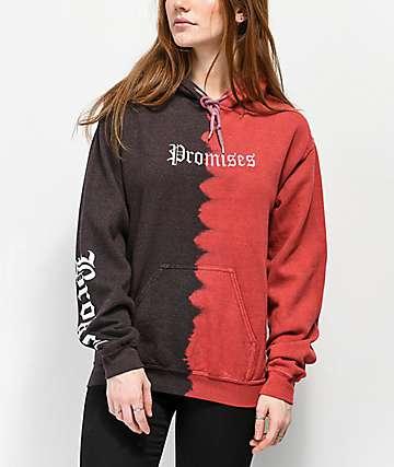 Broken Promises Slogan sudadera con capucha y efecto tie dye
