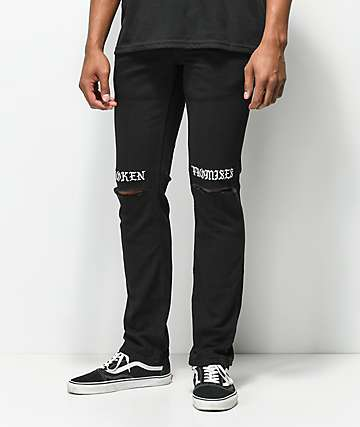 Broken Promises Stitched & Ripped Knee Black Jeans
