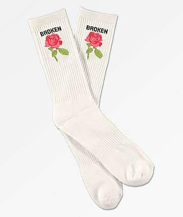 Broken Promises Thornless White Crew Socks