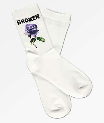 Broken Promises Thornless White Crew Socks