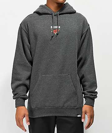 Broken Promises Trio Embroidered Heather Grey Hoodie