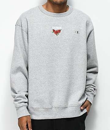 Broken Promises Trio Embroidered Oxford Grey Sweatshirt