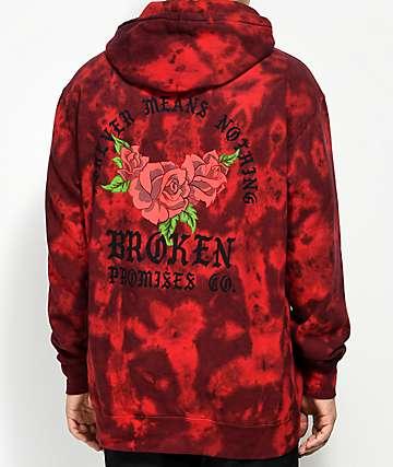 Broken Promises Trio Red Tie Dye Hoodie