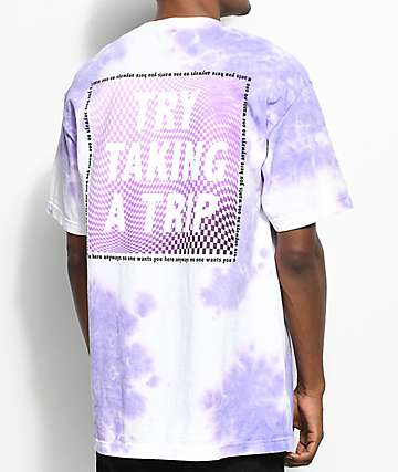 Broken Promises Trip Cloud White & Purple Tie Dye T-Shirt