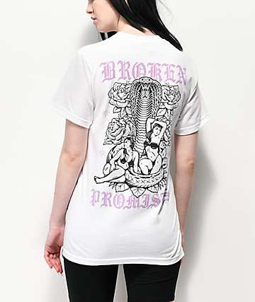 Broken Promises Venemous Love White T-Shirt