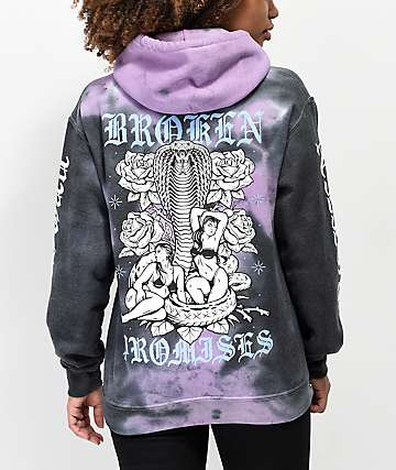 Broken Promises Venomous Love Purple Tie Dye Hoodie