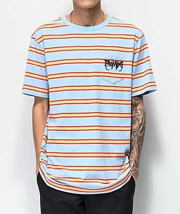 Broken Promises Watcher Blue, Red & Yellow Striped T-Shirt
