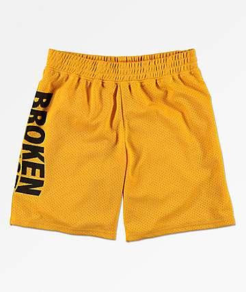 Broken Promises Wave Logo Gold Mesh Shorts