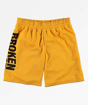 Broken Promises Wave Logo Gold Mesh Shorts