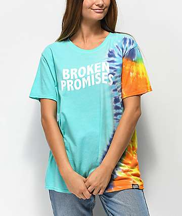Broken Promises Wave camiseta azul con efecto tie dye
