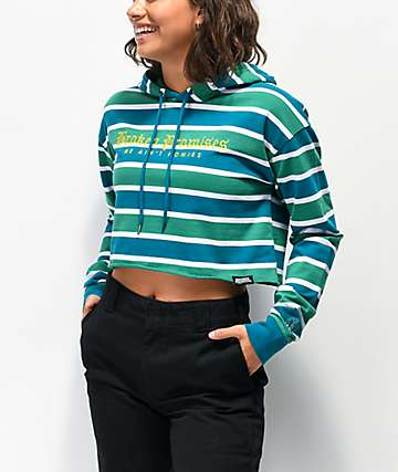 Broken Promises We Ain't Homies Green & Teal Stripe Crop Hoodie
