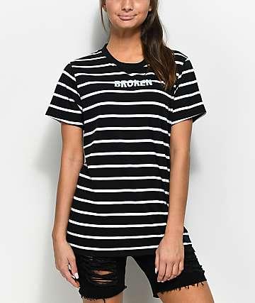 Broken Promises camiseta a rayas en negro y blanco