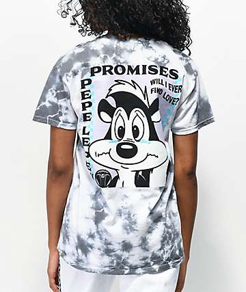 Broken Promises x Pepe Le Pew Find Love White & Grey Tie Dye T-Shirt
