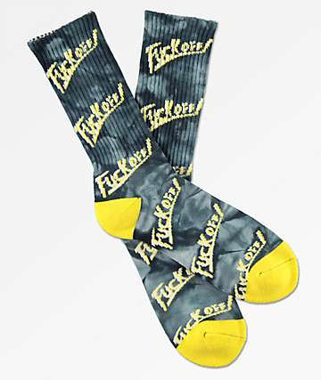 Brooklyn Projects F**k Off Black Crystal Crew Socks