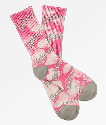 Brooklyn Projects F**k Off Pink Crystal Crew Socks