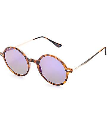 Brown Tortoise & Purple Rounded Flat Lens Sunglasses