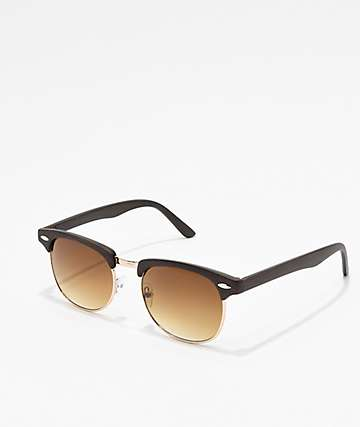 Brown Wood Clubmaster Sunglasses