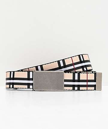 Buckle Down Cream, White & Black Plaid Web Belt