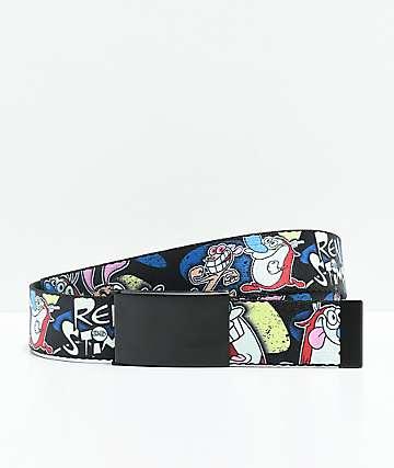 Buckle Down Ren & Stimpy cinturón tejido en negro