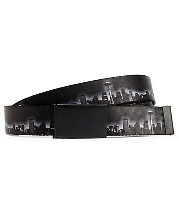 Buckle Down Seattle Night Skyline Black & White Web Belt