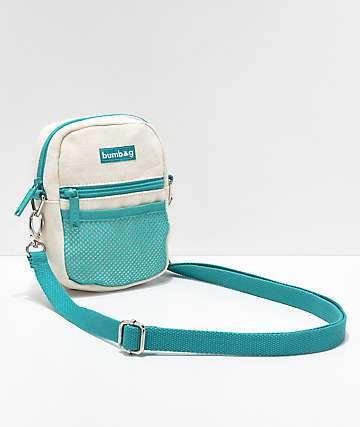 Bumbag bolso de hombro beige y azul