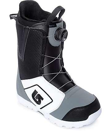 Burton Moto White, Black & Grey Boa Snowboard Boots