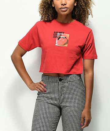 By Samii Ryan Alone Red Crop T-Shirt