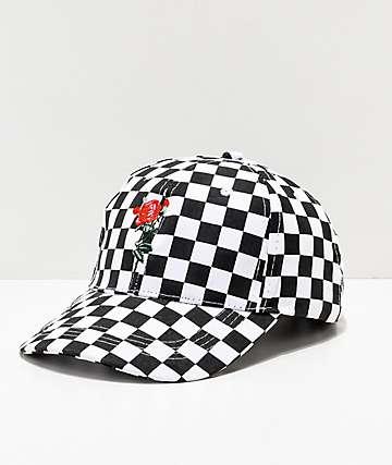 By Samii Ryan Checkered Rose Strapback Hat