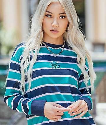 By Samii Ryan Kanji Blossom Blue Stripe Long Sleeve T-Shirt