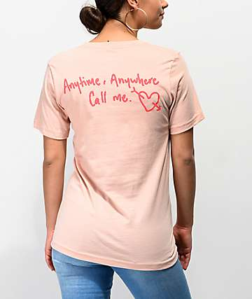 By Samii Ryan Looking For Love Peach T-Shirt