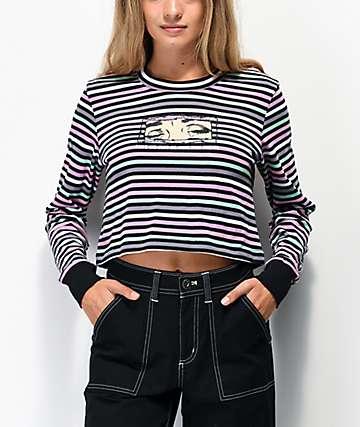 By Samii Ryan More Than Friends Stripe Long Sleeve Crop T-Shirt