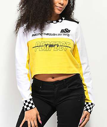 By Samii Ryan Perfect Ten White, Yellow & Black Long Sleeve Crop T-Shirt