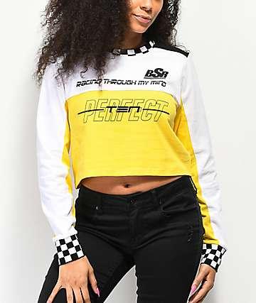 By Samii Ryan Perfect Ten camiseta de manga larga blanca, amarilla y negra