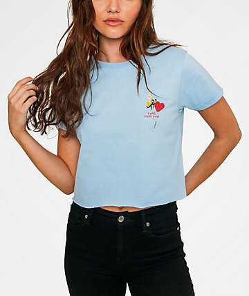 By Samii Ryan Ruin Light Blue Cropped T-Shirt