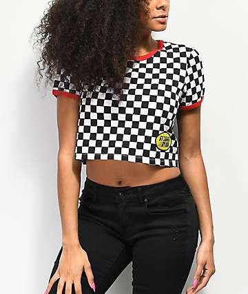 By Samii Ryan Too Fast Black & White Checkered Crop T-Shirt