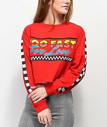 By Samii Ryan Too Fast For Love camiseta corta de manga larga roja