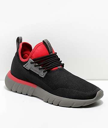 CU4TRO Bolt Black & Scarlet Knit Shoes