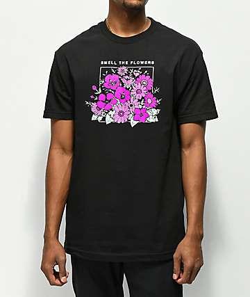 Cake Face PNW Smell Flowers Black T-Shirt