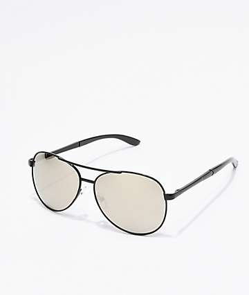 Captain 2 Black & Silver Aviator Sunglasses