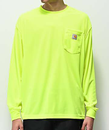 Carhartt Neon Green Force Color Enhanced Mesh Long Sleeve T-Shirt