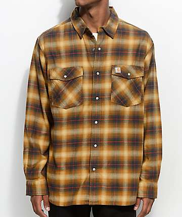 Flannel shirts for men zumiez for Brown and black plaid shirt