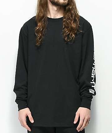 Carhartt Signature Logo camiseta negra de manga larga