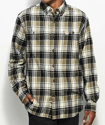 Carhartt Trumbull Burnt Olive Flannel Shirt