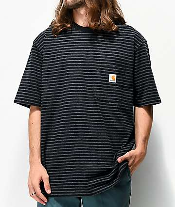 Carhartt Workwear Black & Grey Striped Pocket T-Shirt